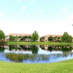 Condo complex with pond