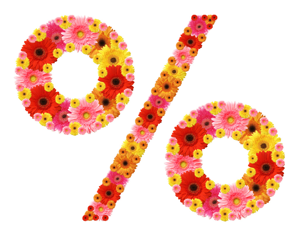 percentage sign of flowers