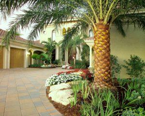 Florida landscape boulders grace a residential entrance