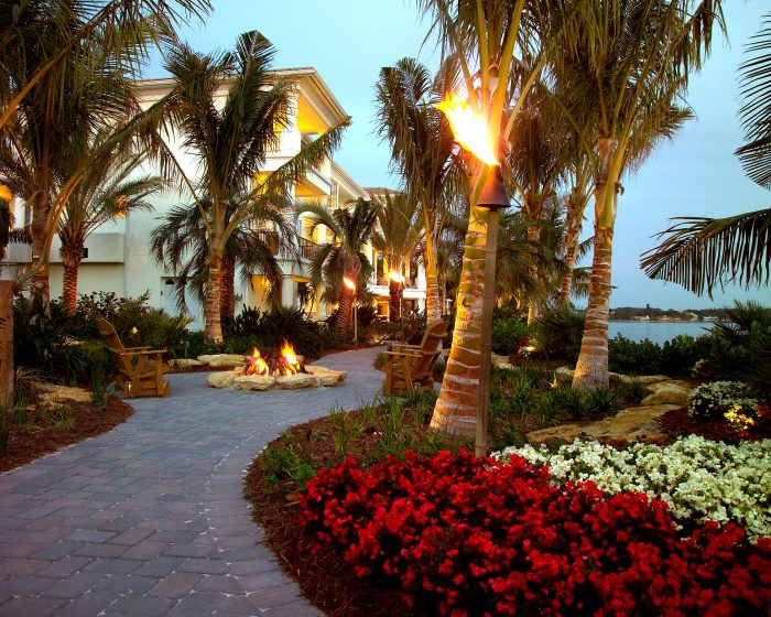 Florida landscapes pop with begonias and coconut palms
