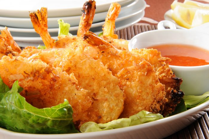 Coconut shrimp with chili sauce